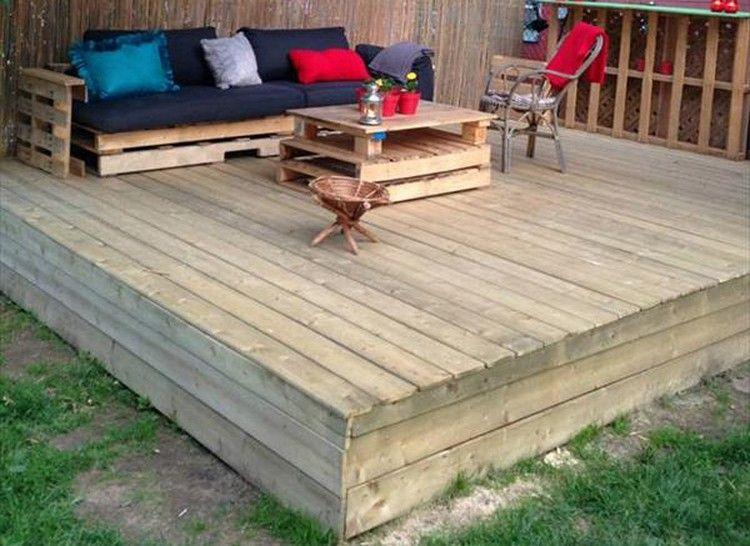 Recycled Pallet Wood Decks Meuble Jardin Palette Palette Jardin