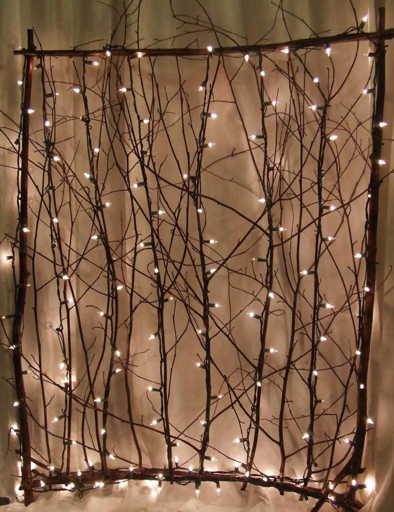Lighted Twig Screen. For The Sides Of The Back Porch.