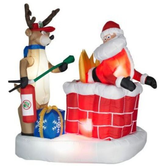 christmas blow ups inflatable santa on fire best inflatable christmas decorations 2011 - Christmas Blow Ups