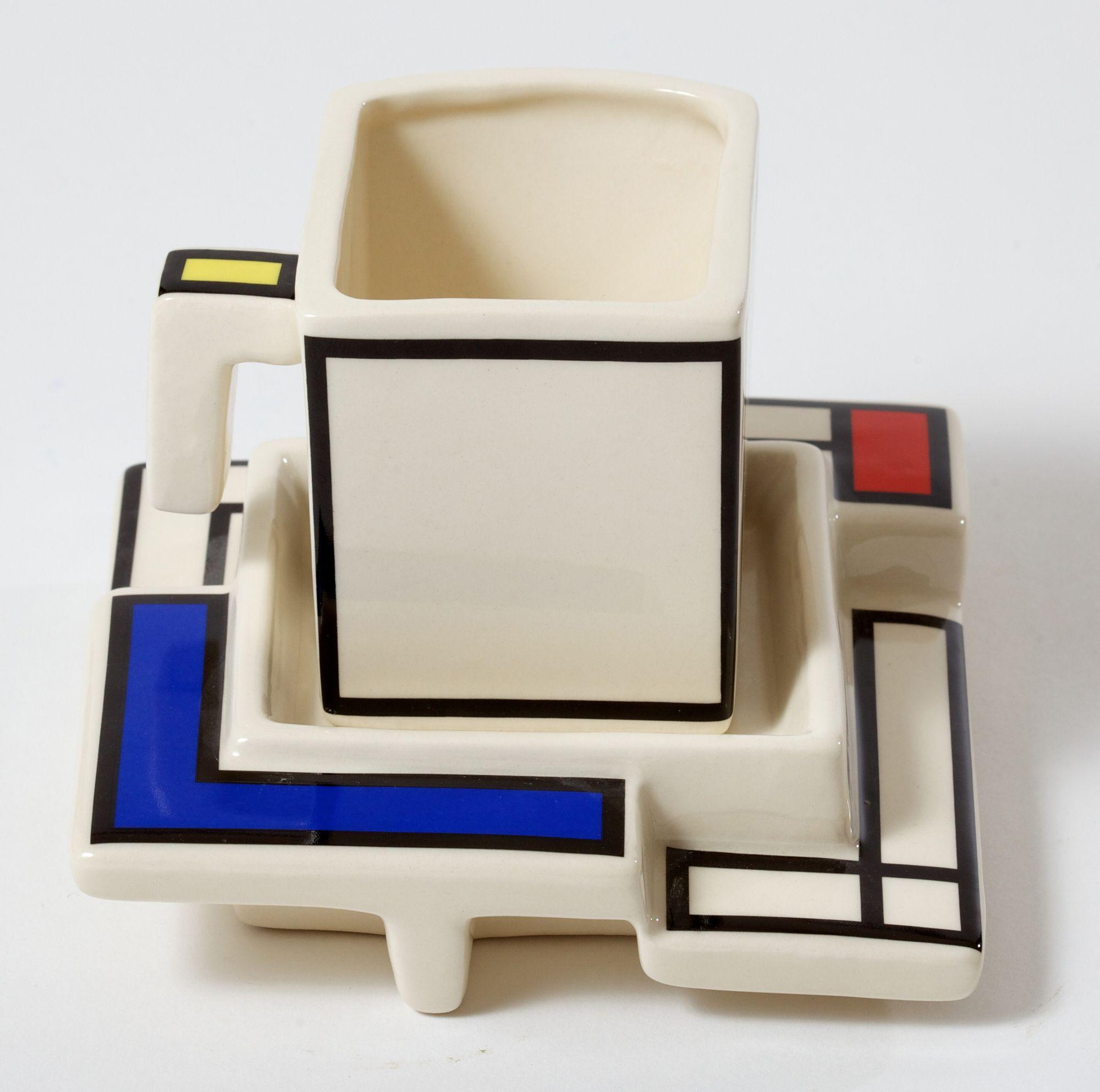 Tea Pottery Mondriaan Tea Cup and Saucer