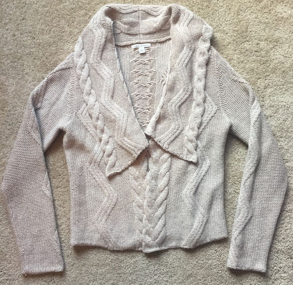 Banana Republic Women's Brown Cable Knit Long Sleeve Shaw Cardigan Sweater Large   eBay