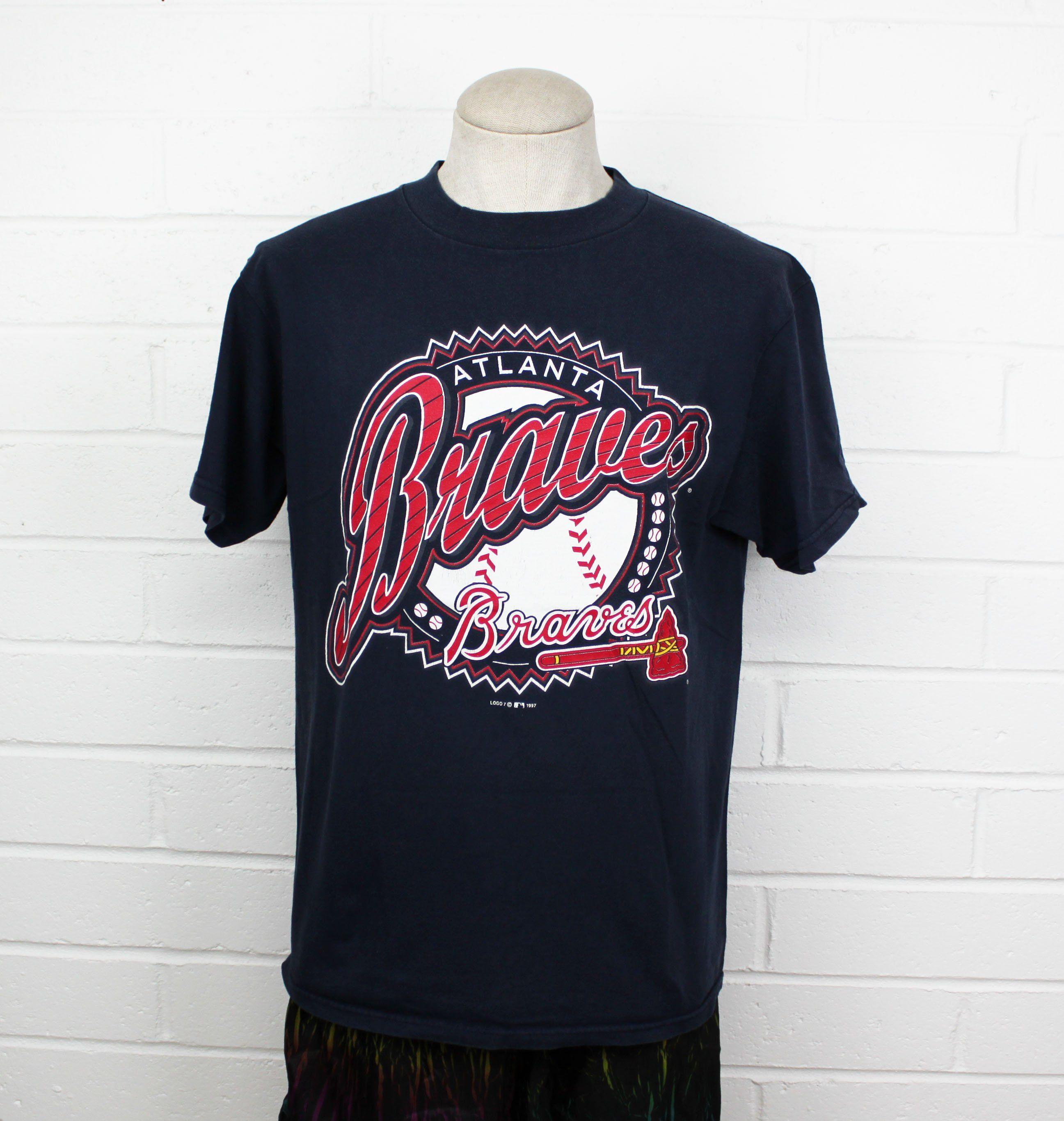 Vintage 90s Atlanta Braves Shirt Large Mlb Baseball Retro Tee T Shirt By Nack4vintageshop On Etsy Atlanta Braves Shirt