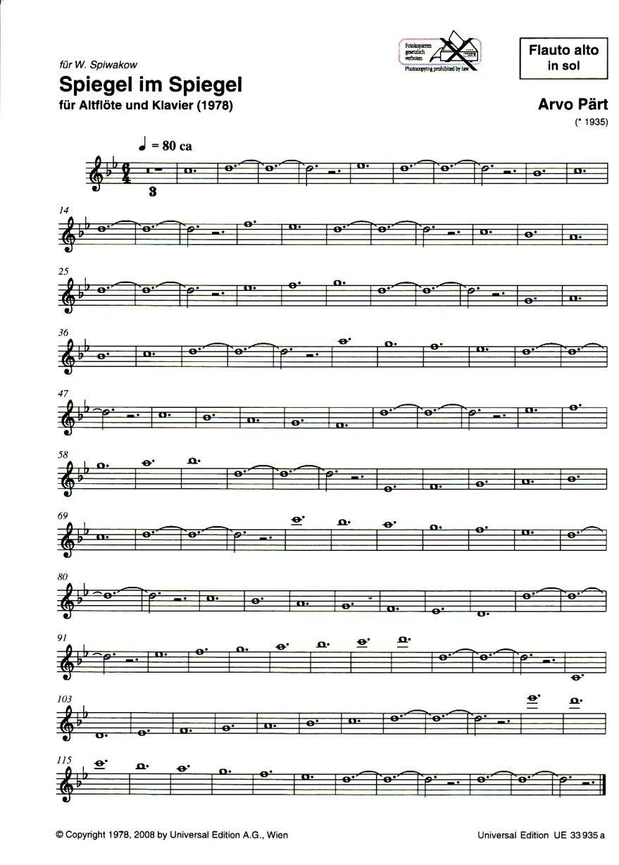 Spiegel Im Spiegel Spiegel Im Spiegel Arvo Part Sheet Music