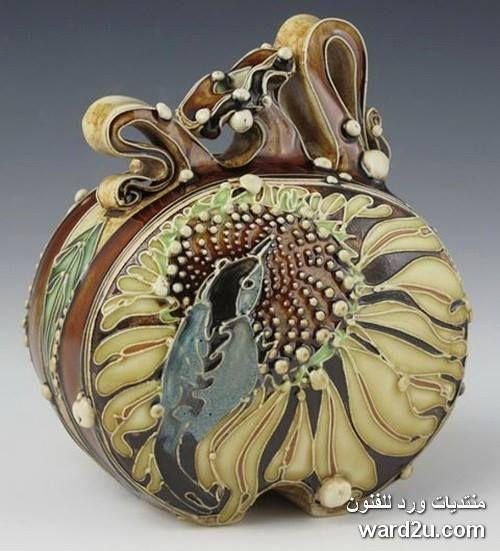 زخارف نباتية خزفيات رائعة للفنانة Carol Long الصفحة 3 Pottery Art Handcrafted Pottery Ceramic Artwork