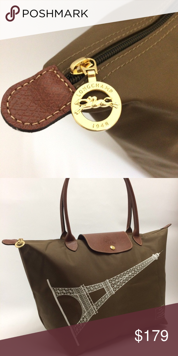 9cd1e8d56b91 Longchamp Le Pliage Eiffel Tower Limited Edition m Brand new with tag! Only  available in Paris. Limited edition. Khaki