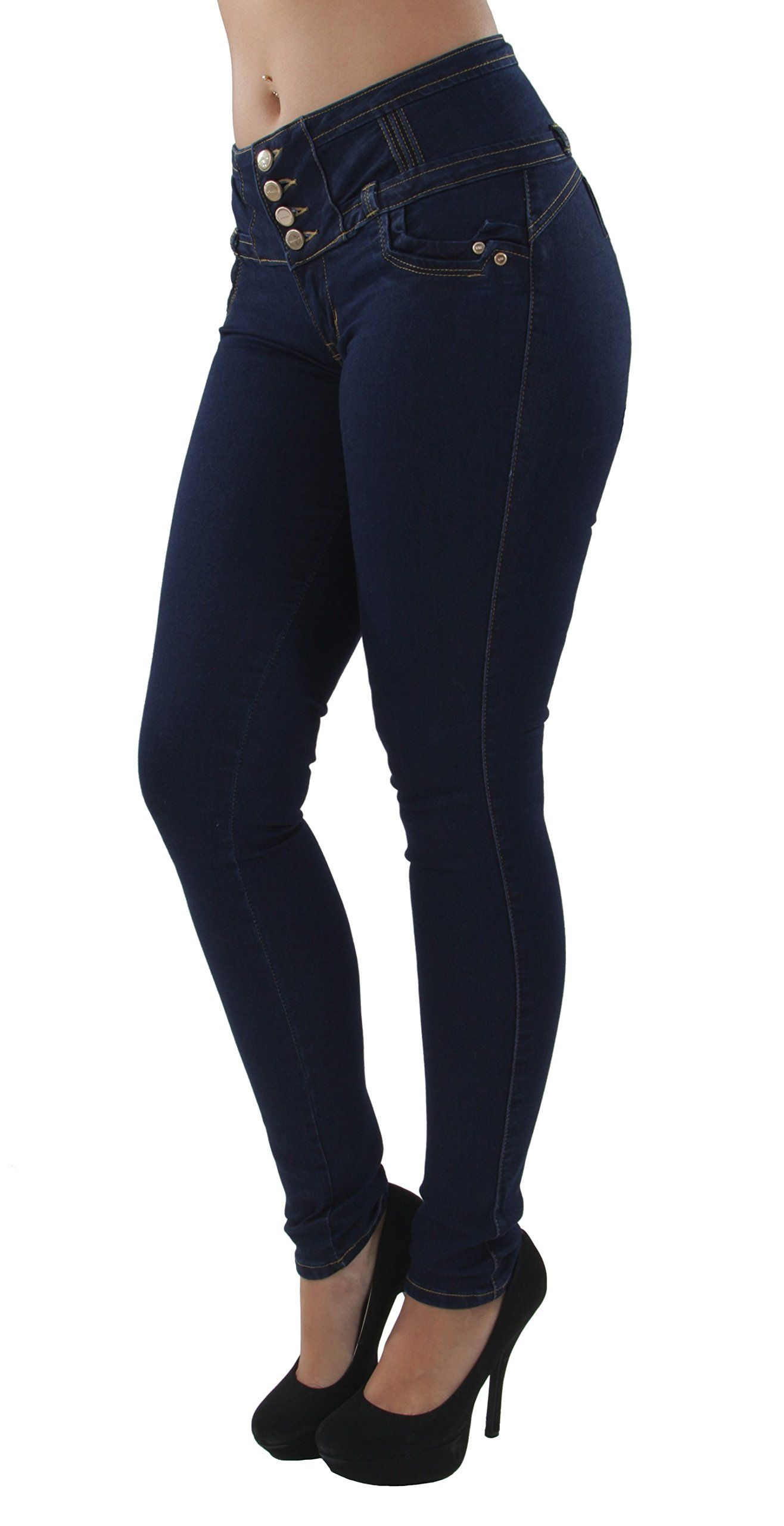 d7a68ece4ef Fashion2Love A10046P Plus Size Colombian Design Butt Lift Mid Waist Skinny  Jeans in Navy Size 16 -- Check this awesome product by going to the link at  the ...