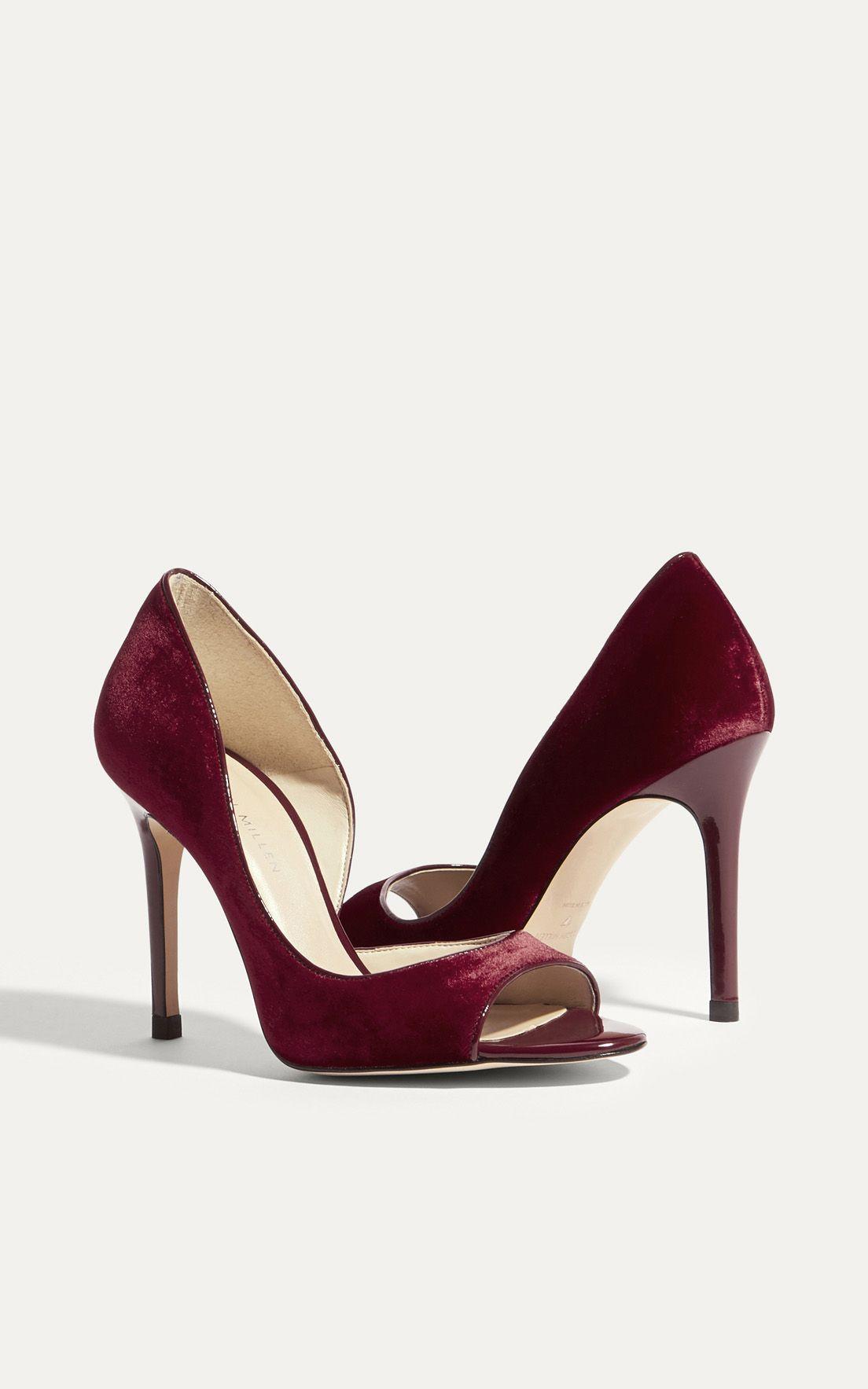 df5e7023d1b Karen Millen, VELVET OPEN-TOE COURT HEELS Red | Ready to Rep Brands ...