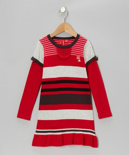 Take a look at this True Red Stripe Layered Dress - Toddler & Girls on zulily today!