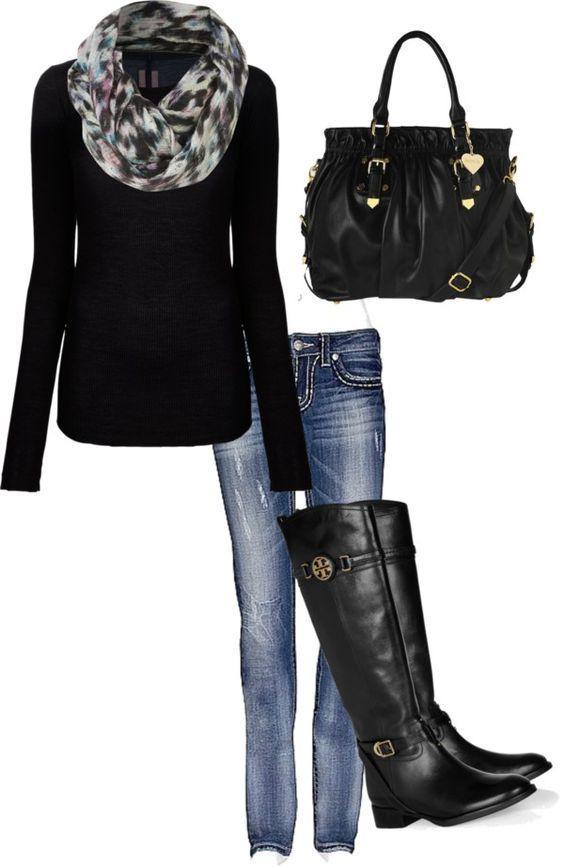 #fall #outfits / Bedruckter Schal + schwarze hohe Stiefel – Nagel Ideen