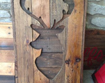 customized pallet deer sign faux taxidermy wall art signage Antler decor rustic hunting decor wooden signage deer head faux
