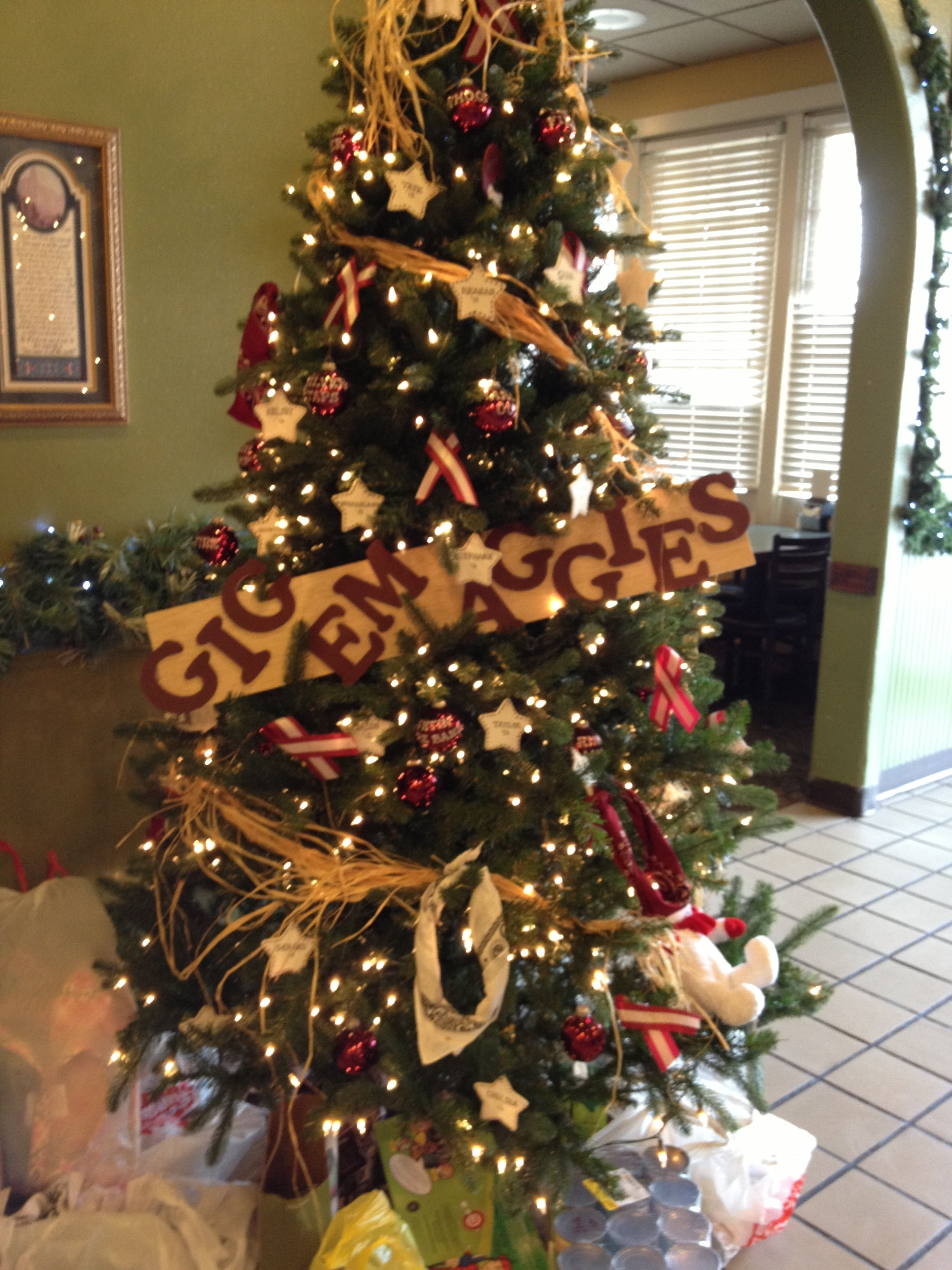 Aggie Christmas tree! Whoop!.. I want to do this on a second tree ...