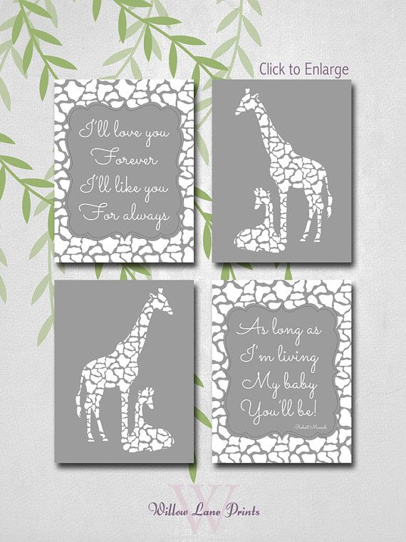 Giraffe Nursery Decor Gray Art Neutral