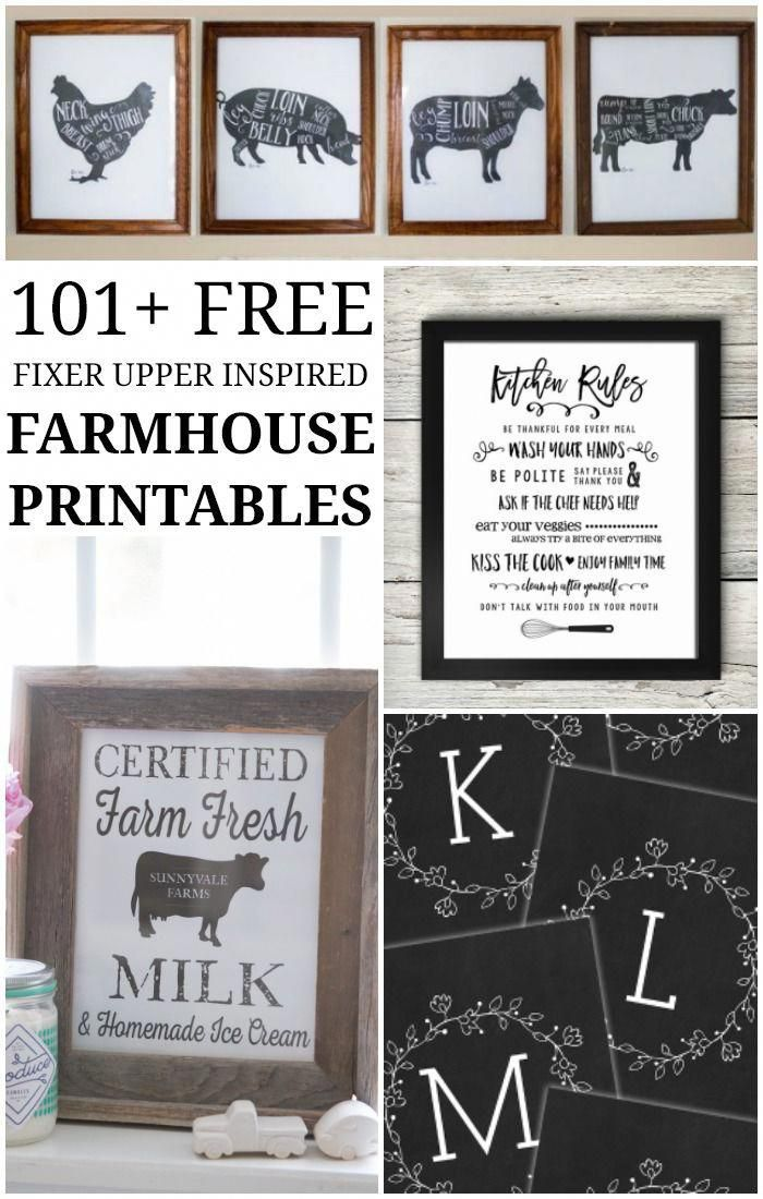 101 free farmhouse printables farmhouse freeprintables fixerupper joannagaines on farmhouse kitchen quotes free printable id=97196
