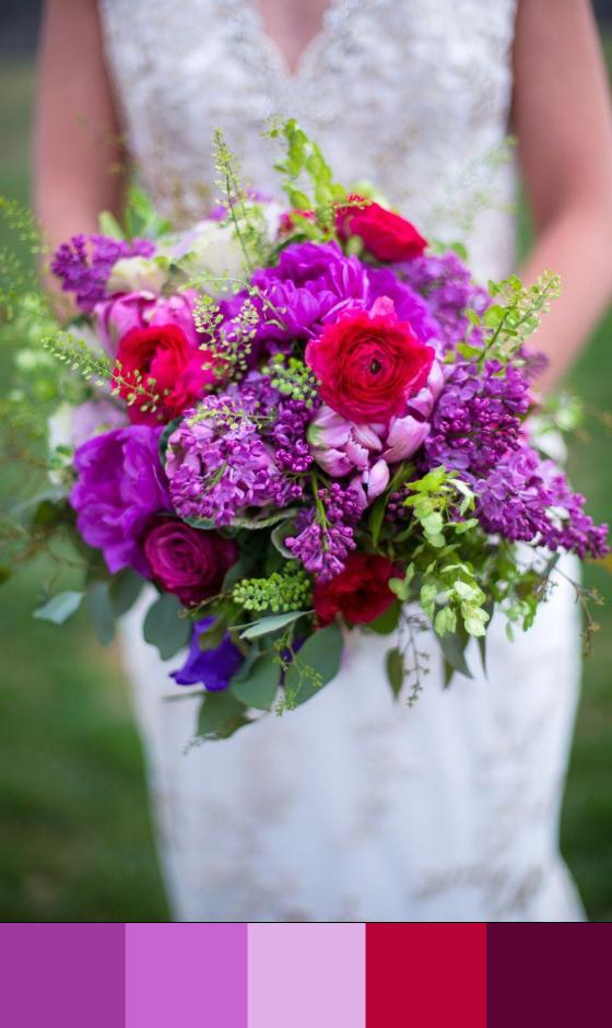 Purple & Fuchsia Wedding Bouquet Photographer: Sarah Roshan, Wedding Photographer