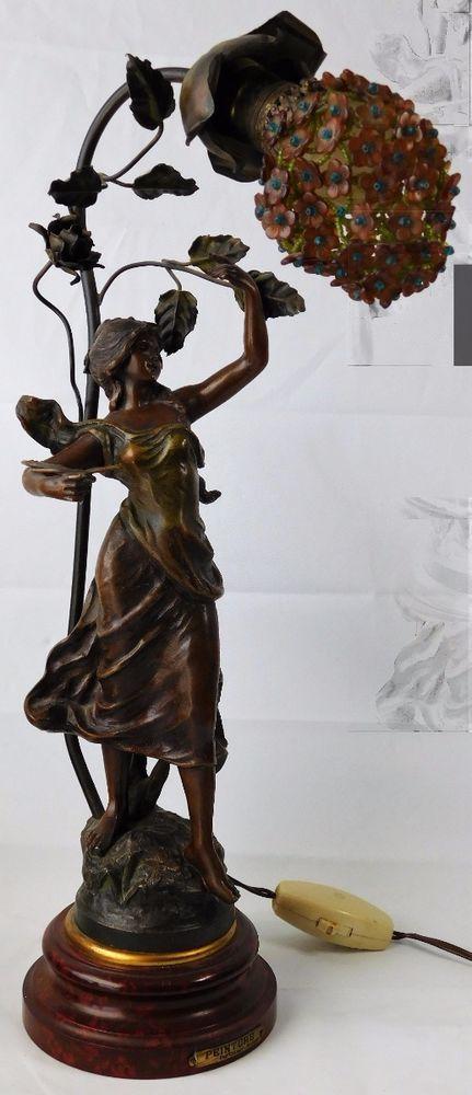 Atq George Maxim Art Nouveau Bronze Spelter Lady Painter Czech Glass Shade Lamp Antique Lamps Art Beaded Lampshade