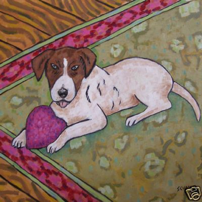 Jack Russell W// Heart toy dog art tile coaster gift