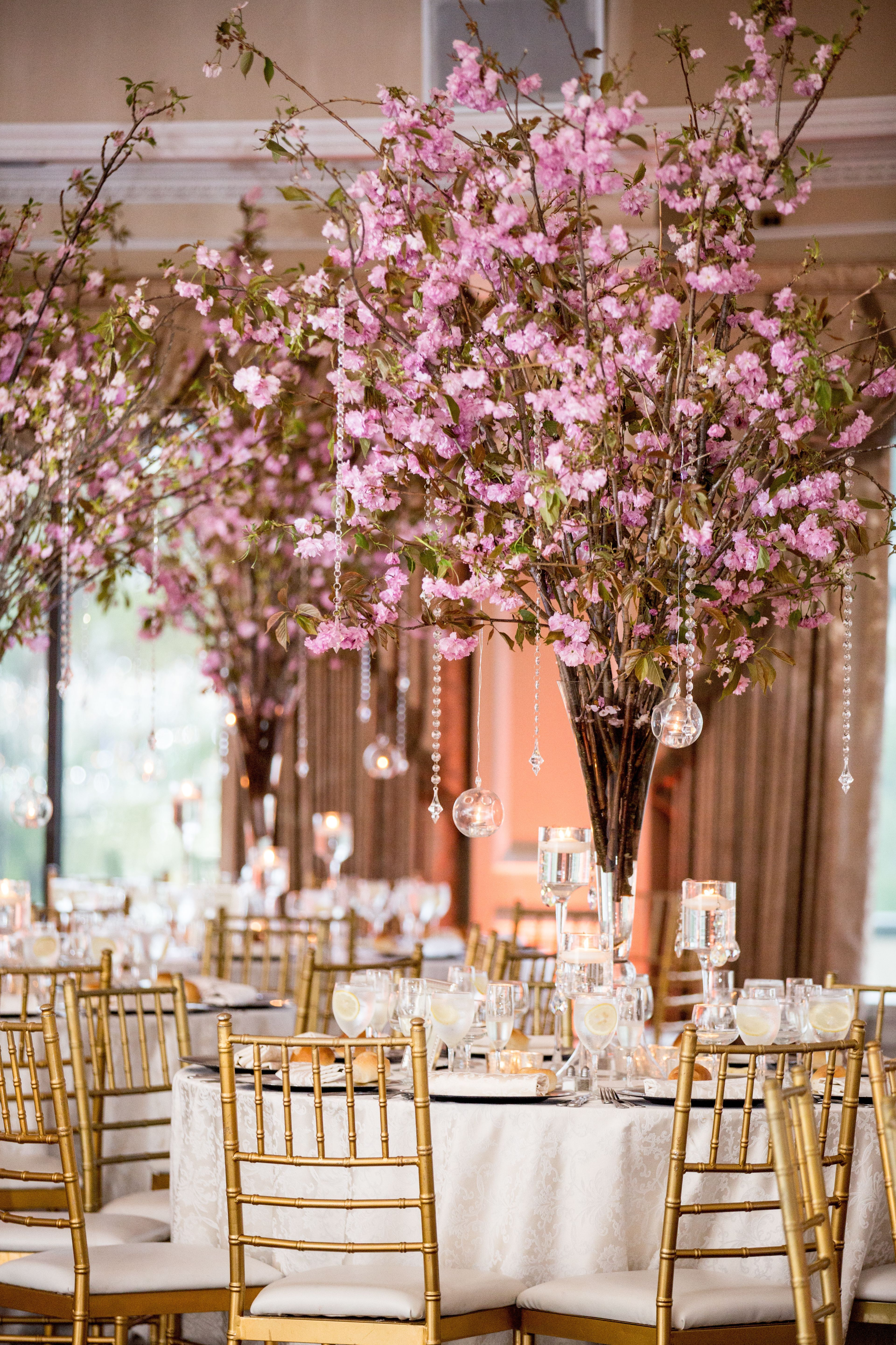 Pink Cherry Blossom Centerpieces With Crystals Cherry Blossom Centerpiece Cherry Blossom Wedding Centerpieces Cherry Blossom Wedding