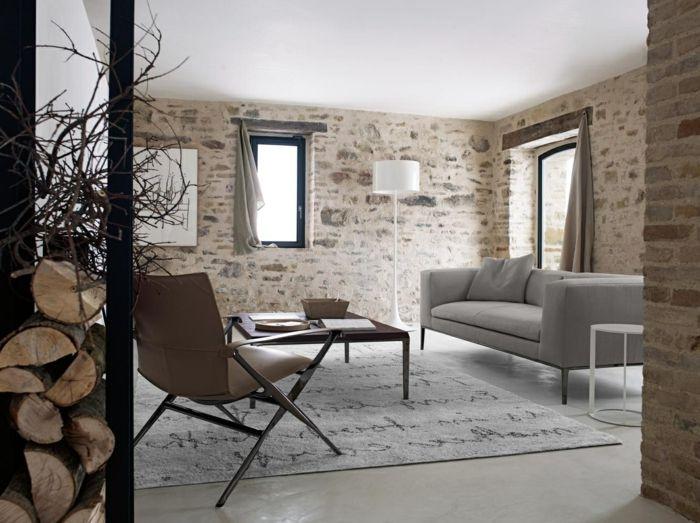 Naturstein Verblender ein kleines Wohnzimmer mit handbeschriebenen ...