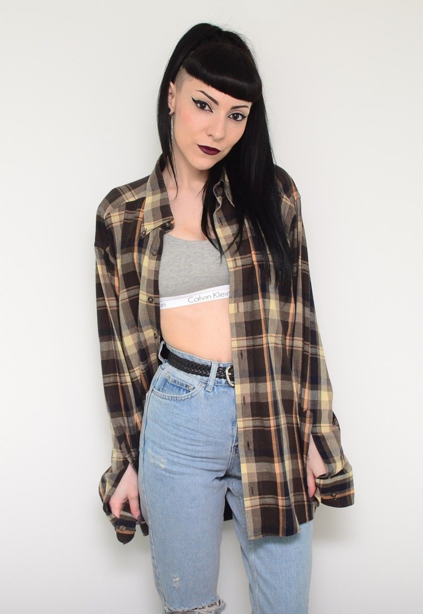f5759f48ad Vintage 90 s Flannel Checked Boyfriend Slouch Shirt