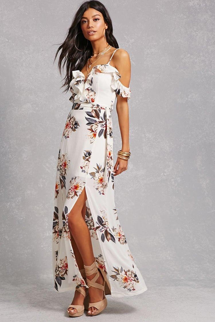 A woven maxi dress featuring an allover floral print ruffled
