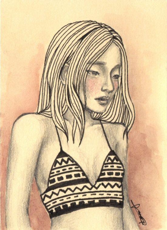 aztec tribal top girl drawing pink