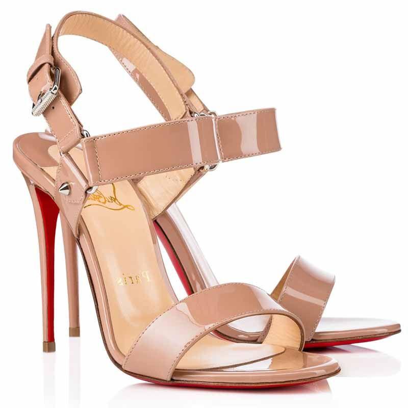 d765f613f0c Christian Louboutin Sova Heel 100mm Patent Leather Sandals Nude ...