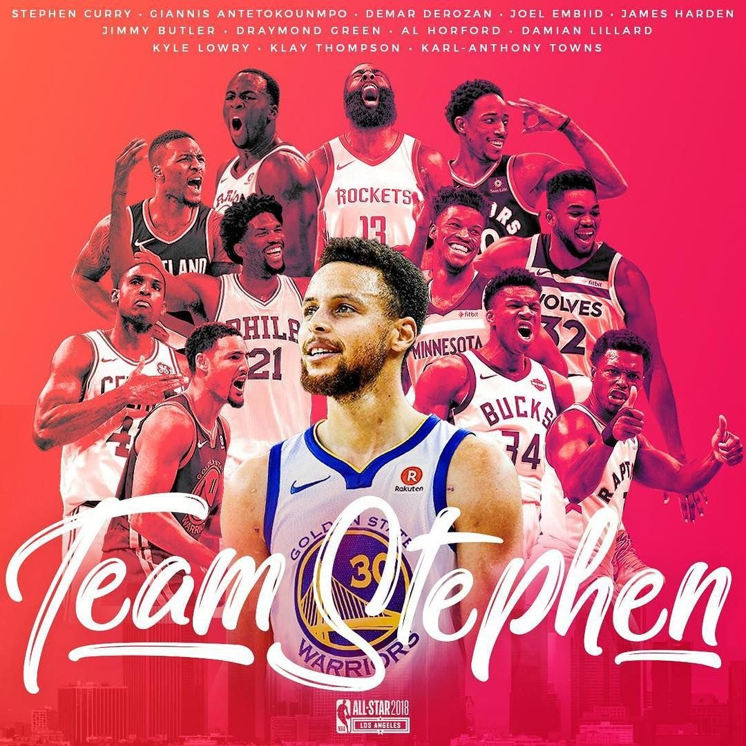 Here Is Your 2018 Nbaallstar Roster For Teamstephen Karl Anthony Towns Klay Thompson Stephen Curry