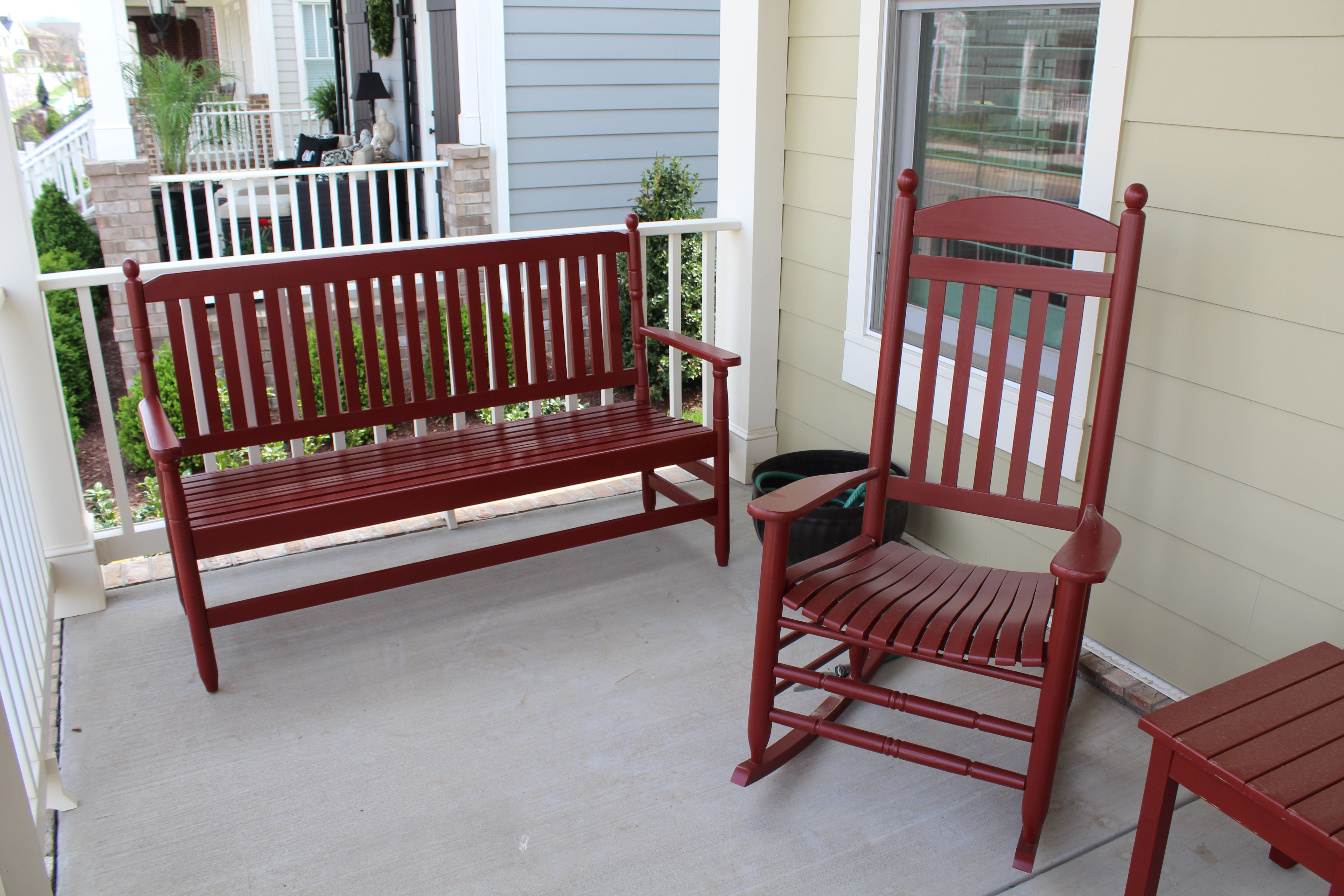 A beautiful porch bench just finished in General Finishes Tuscan Red on plumbing finishes, outdoor finishes, nichiha finishes, house paint finishes, industrial finishes, roof finishes,