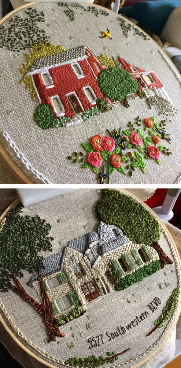 Embroidered Houses By The Monsters Lounge Bordado Stumpwork And