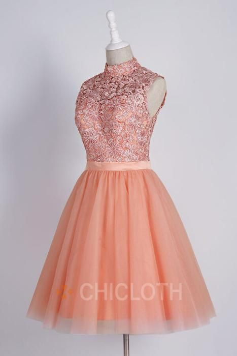 Glamorous High Neck Short Coral Homecoming Dress with Appliques Backless #backlesscocktaildress