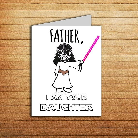 Star Wars Card Fathers Day For Dad Gift From Daughter Birthday Darth Vader Princess Leia P