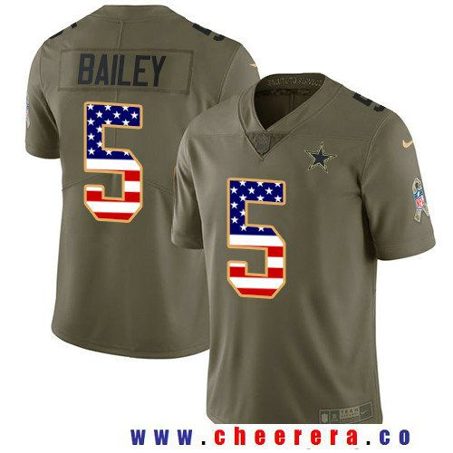 buy popular 4e805 16004 Men's Dallas Cowboys #5 Dan Bailey Olive with USA Flag 2017 ...