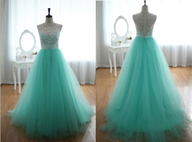Custom Lace and Tulle Wedding Dress Prom Ball Gown Blue Tulle ...