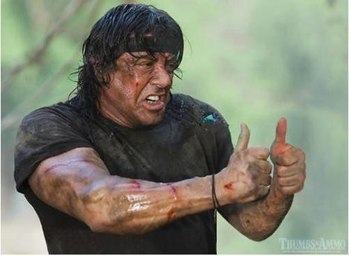 Rambo Sylvester Stallone Gives A Thumbs Up Funny Single Memes Sylvester Stallone Iconic Movies