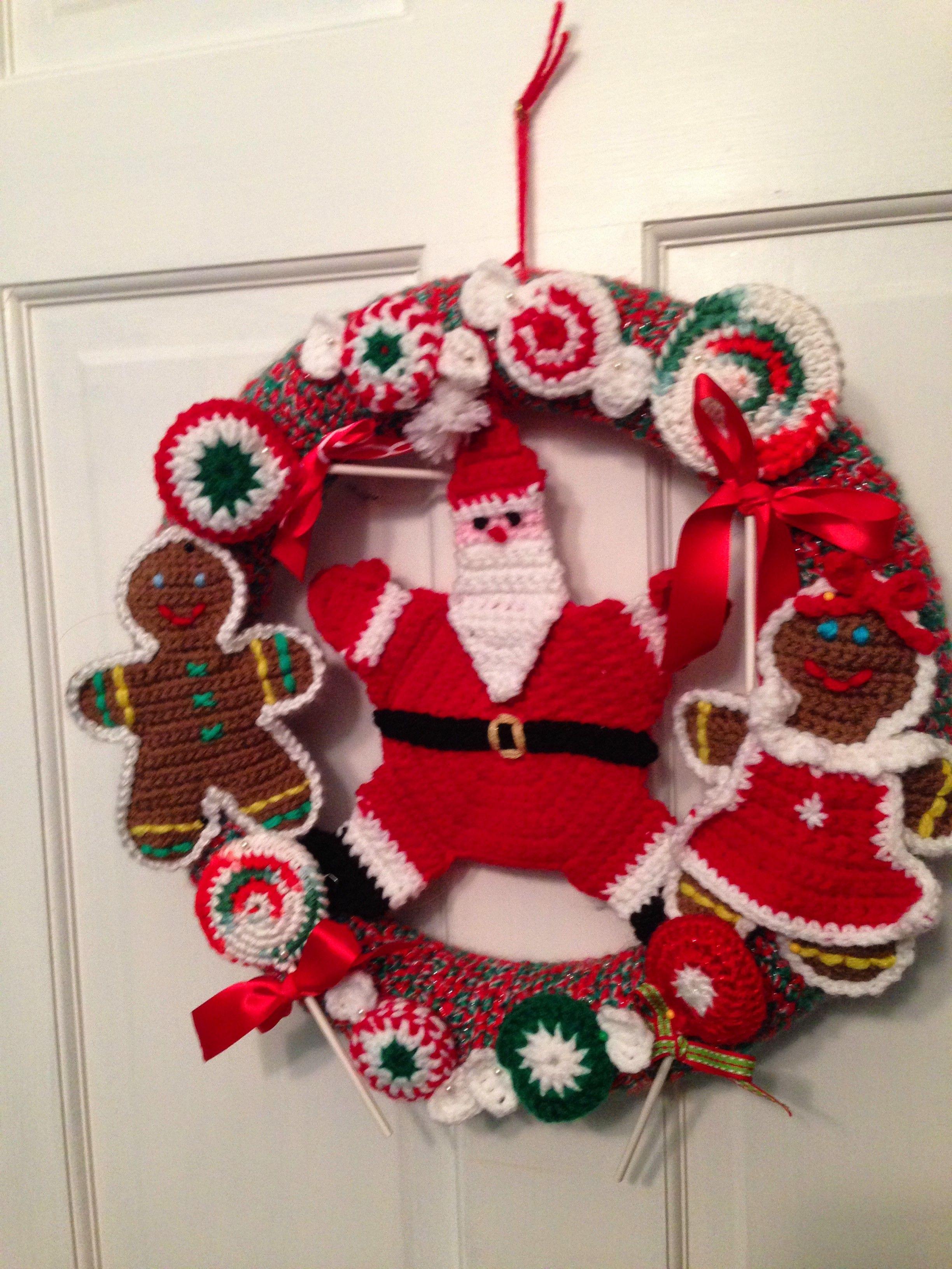 Crocheted Wreath Gingerbread/Candy Wreath | Crocheted Wreaths ...