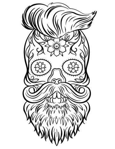 Hipster Sugar Skull Coloring Page Skull Coloring Pages Halloween Coloring Pages Sugar Skull Art Drawing