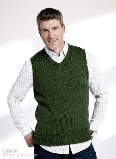 b453c10b8 FREE PATTERN...Adult Knit V-Neck Vest - Patterns