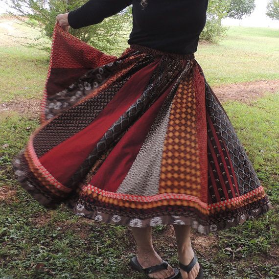 Autumn Long Panel Bohemian Patchwork Skirt by 1000Colors on Etsy