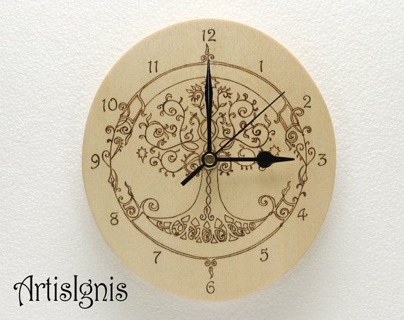 30 Inch Clock Stencil: Tree Of Life Wall Clock Handmade Oval Wood Clock By