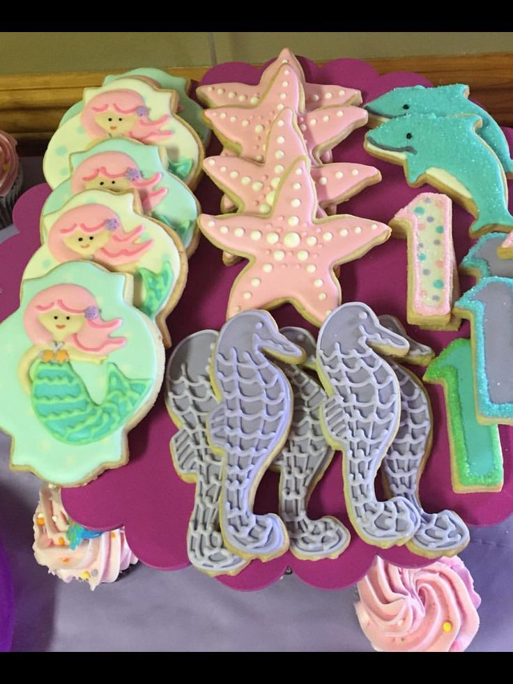 Mermaid theme cookies for a little girls first birthday Mermaid