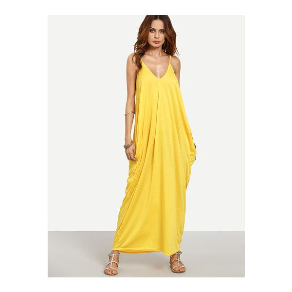 ff3f0c4ba1 SheIn(sheinside) Yellow Spaghetti Strap Plain Maxi Dress found on Polyvore  featuring polyvore