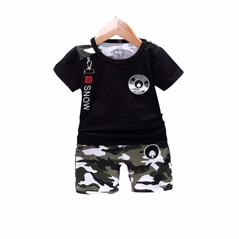 2PCS Toddler Kids Baby Boys Summer Clothes T-shirt Tops+Shorts Pants Set Cartoon