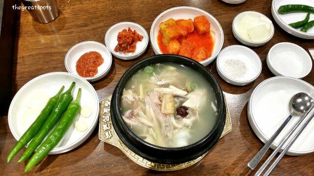 삼계탕, Samgyetang 오늘의 특별 메뉴는요 한국인의 건강보양식 삼계탕 입니다. 담백하고 구수한 보양식 사계절 연중 인기가 끊기지 않아요. 깍두기, 고추와 함께 맛도 일품 !!!  추운날엔 뜨끈한 삼계탕 먹고 힘내세요. :) Today's special, Samgyetang (Ginseng chicken soup). Korean favorite Healthy food all year around. Let this with dish dish like radish kimch, pepper, then the taste bacome much better. Eat this in this cold day and get energy up !!!  #삼계탕 #samgyetang #Koreafood
