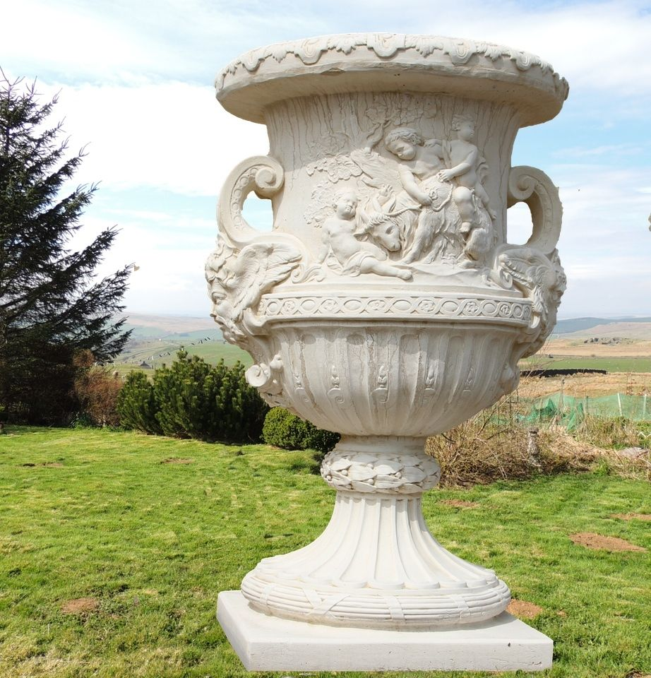 Discount Garden Statues   Giant Stone Cast Vase Urn In Greek Design 1.4  Metres High,