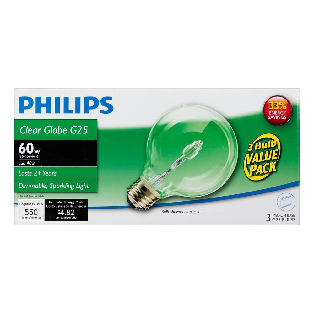 Philips 60 Watt G25 Halogen Clear Decorative Globe Light Bulb 3