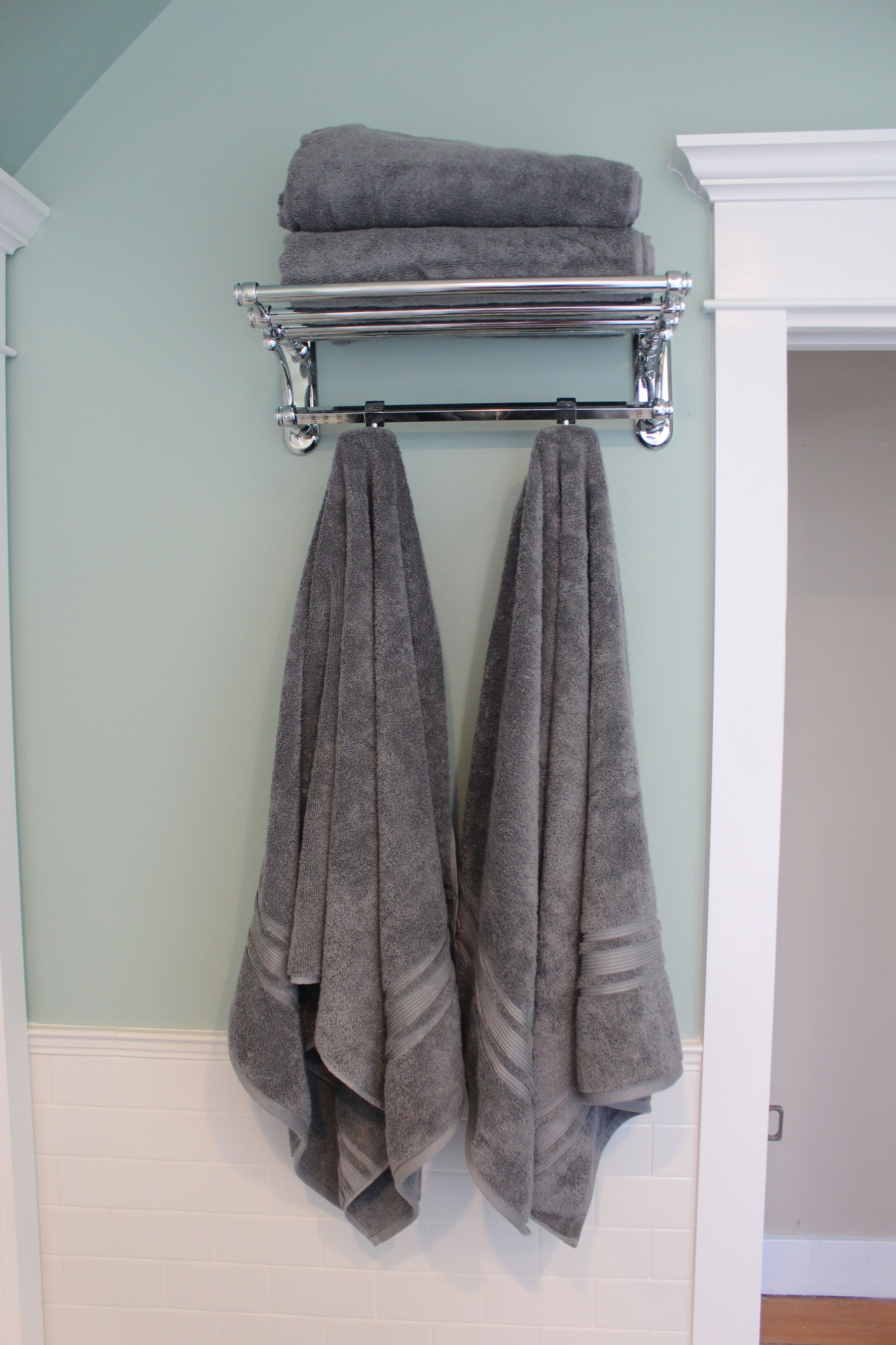 Train rack for storing towels so much more efficient than a