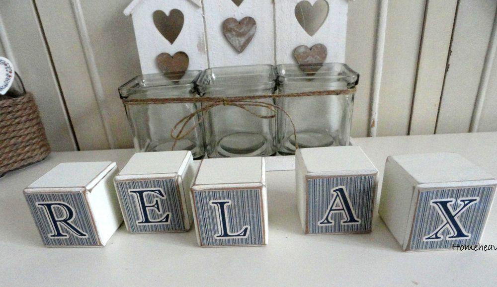 Bathroom Ornaments relax word letters bathroom ornament shabby chic wood block