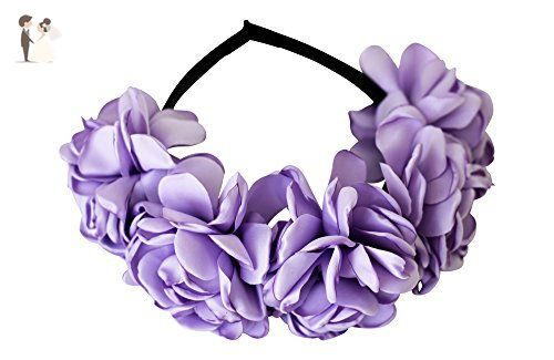 Lavender Satin Rose Flower Crown Headband for Girls - Bridal hair  accessories ( Amazon Partner-Link) fd103372e6c