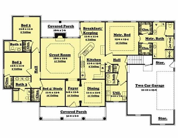 traditional country home floor plan four bedrooms plan 142 1005