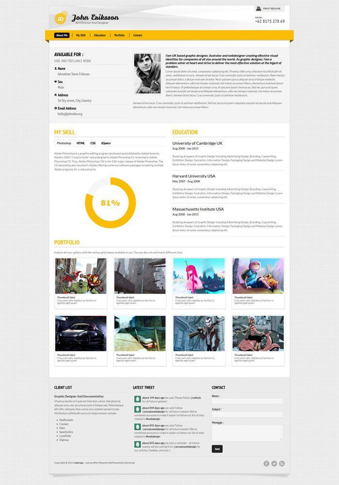 A Few Interesting Resume/CV Website Designs Inspiration - WWW